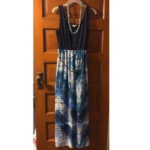 Blue Lace & Tribal Print Maxi Dress